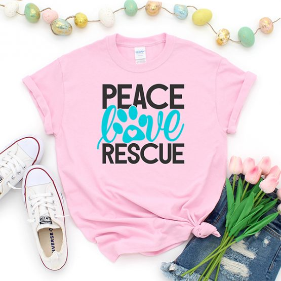 T-Shirt Peace Love Rescue Pet Lover by Clotee.com Custom Cat Shirt, Animal Rescue & Pet Lover