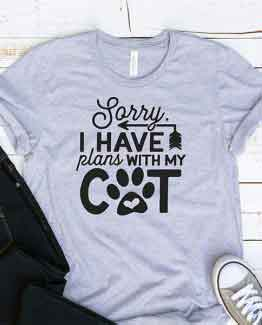 T-Shirt Sorry I Have Plans With My Cat Pet Lover by Clotee.com Rescue Cat, Purr Mama, Cat Lover