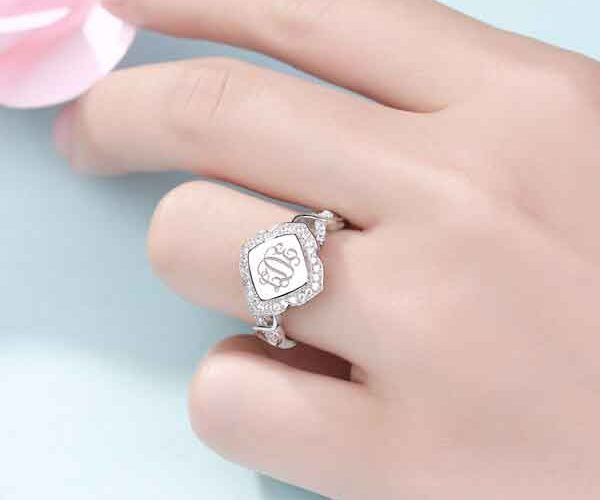 monogram ring from getnamenecklace.com