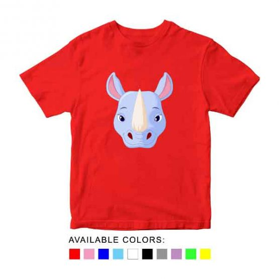 Rhino Toddler Kid Children T-Shirt Animal Head Toddler Children Tee. Printed and delivered from USA or UK.