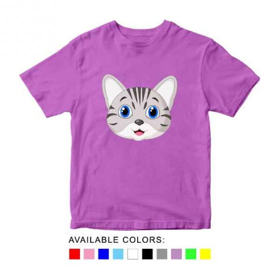 Cat Toddler Kid Children T-Shirt Animal Head Toddler Children Tee. Printed and delivered from USA or UK.
