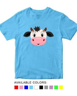 Cow Toddler Kid Children T-Shirt Animal Head Toddler Children Tee. Printed and delivered from USA or UK.