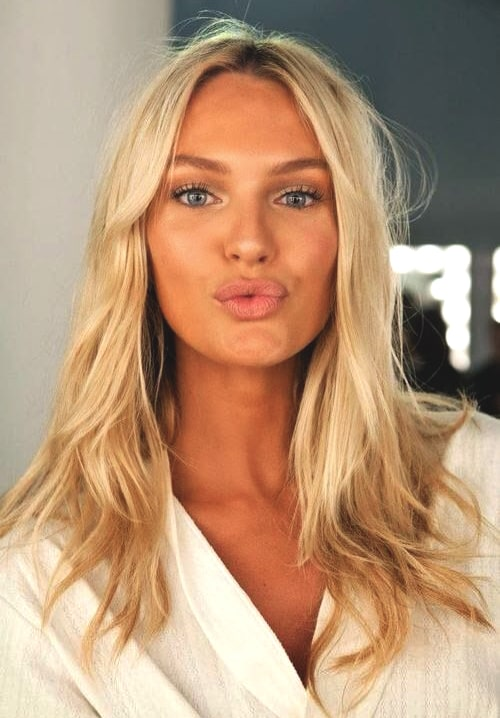 candice swanepoel buttery blonde hair color