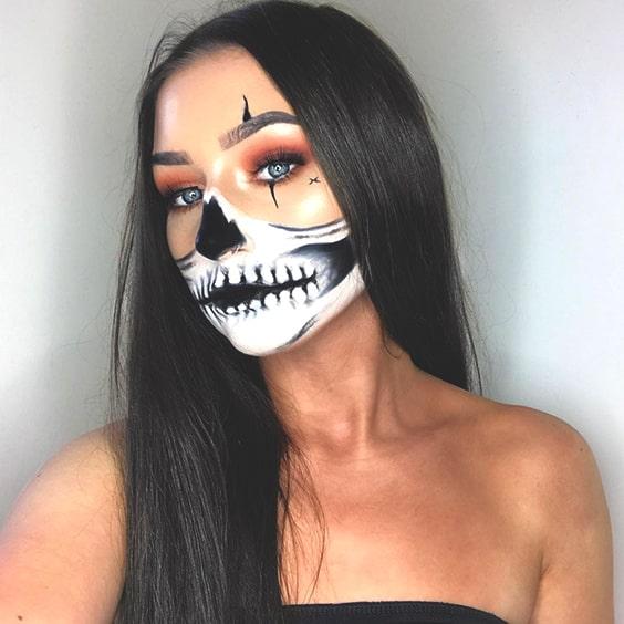 cool skull halloween makeup idea 2019