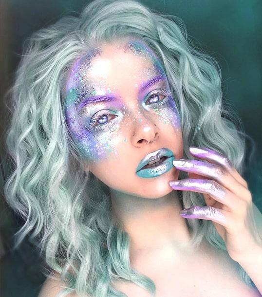 cosmic alien makeup look halloween sexy spooky makeup ideas