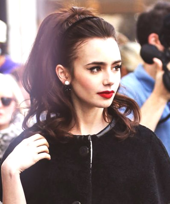 lily collins retro hairstyle fall hair trends