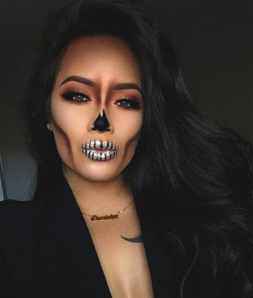 sexy spooky skull makeup idea