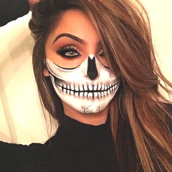 skull makeup look halloween spooky makeup ideas