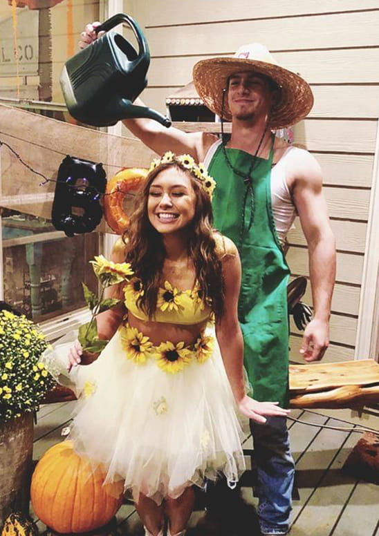 sunflower and gardener halloween costume idea for couples