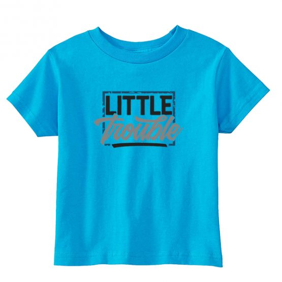 Kids T-Shirt Little Trouble Toddler Children. Printed and delivered from USA or UK.