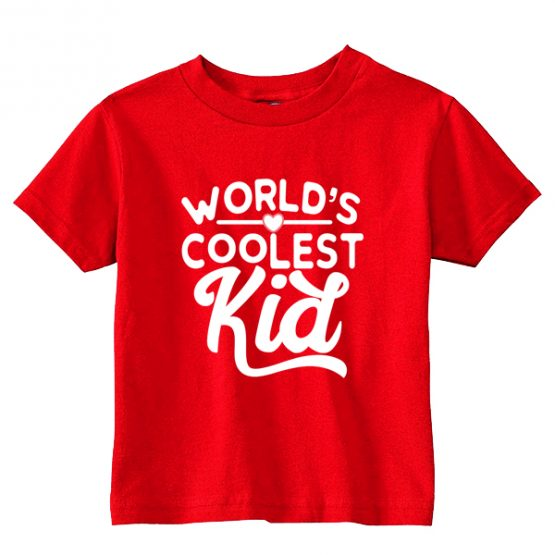 Kids T-Shirt Worlds Coolest Kid Toddler Children. Printed and delivered from USA or UK.