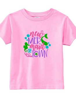 Kids T-Shirt New Mermaid In Town Toddler Children. Printed and delivered from USA or UK.