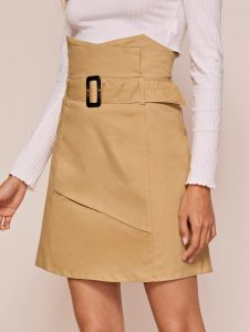 Beige High Waist Buckle Belted Straight Skirt