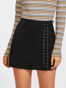 Black Grommet Lace-Up Skirt
