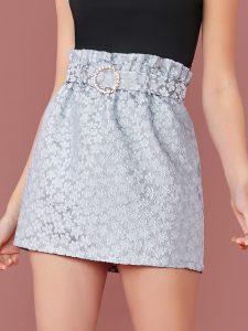 Blue Belted Paperbag Waist Floral Jacquard Skirt