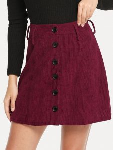 Burgundy Single Breasted Cord Skirt