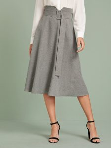 Grey Notch Waist Zip Back Buckle Belted Skirt