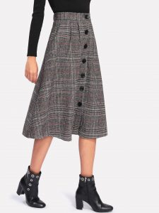 Grey Wales Check Single-Breasted Skirt