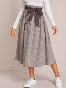 Grey Paperbag Waist Self Belted Glen Plaid Skirt