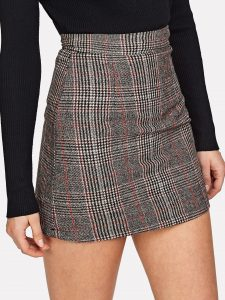 Grey Wales Check Zip Back Skirt