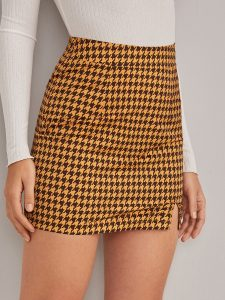 Yellow Houndstooth Print Split Hem Skirt