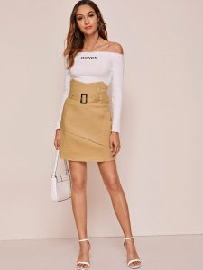 Korean Skirts Outfit Ideas OOTD Korean Beige High Waist Buckle Belted Straight Skirt