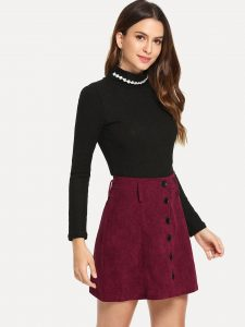 Korean Skirts Outfit Ideas OOTD Korean Burgundy Single Breasted Cord Skirt
