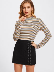 Korean Skirts Outfit Ideas OOTD Korean Grommet Lace Up Skirt