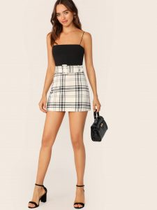 Korean Skirts Outfit Ideas OOTD Korean High Waist Buckle Belted Plaid Skirt