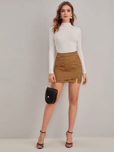 Korean Skirts Outfit Ideas OOTD Korean Houndstooth Print Split Hem Skirt