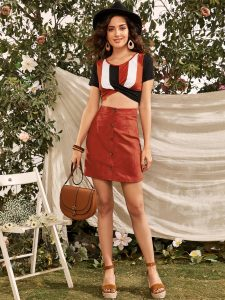 Korean Skirts Outfit Ideas OOTD Korean Orange Button-Front Suede Skirt