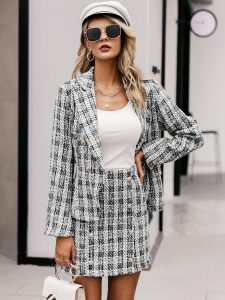 Korean Skirts Outfit Ideas OOTD Korean Plaid Double Button Bodycon Tweed Skirt