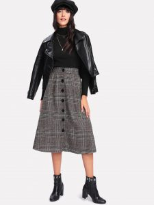 Korean Skirts Outfit Ideas OOTD Korean Wales Check Single-Breasted Skirt