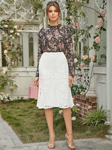 Korean Skirts Outfit Ideas Zipper Back Lace Overlay Skirt