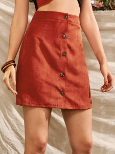 Orange Button-Front Suede Skirt