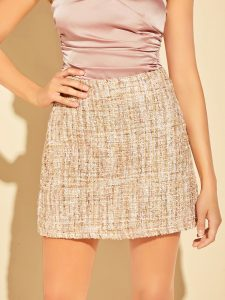 Peach Tweed Pencil Skirt