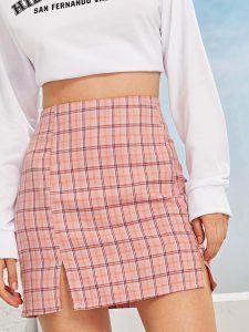 Pink Plaid Side Slit Sheath Skirt