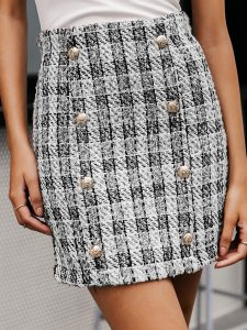 Plaid Double Button Bodycon Tweed Skirt