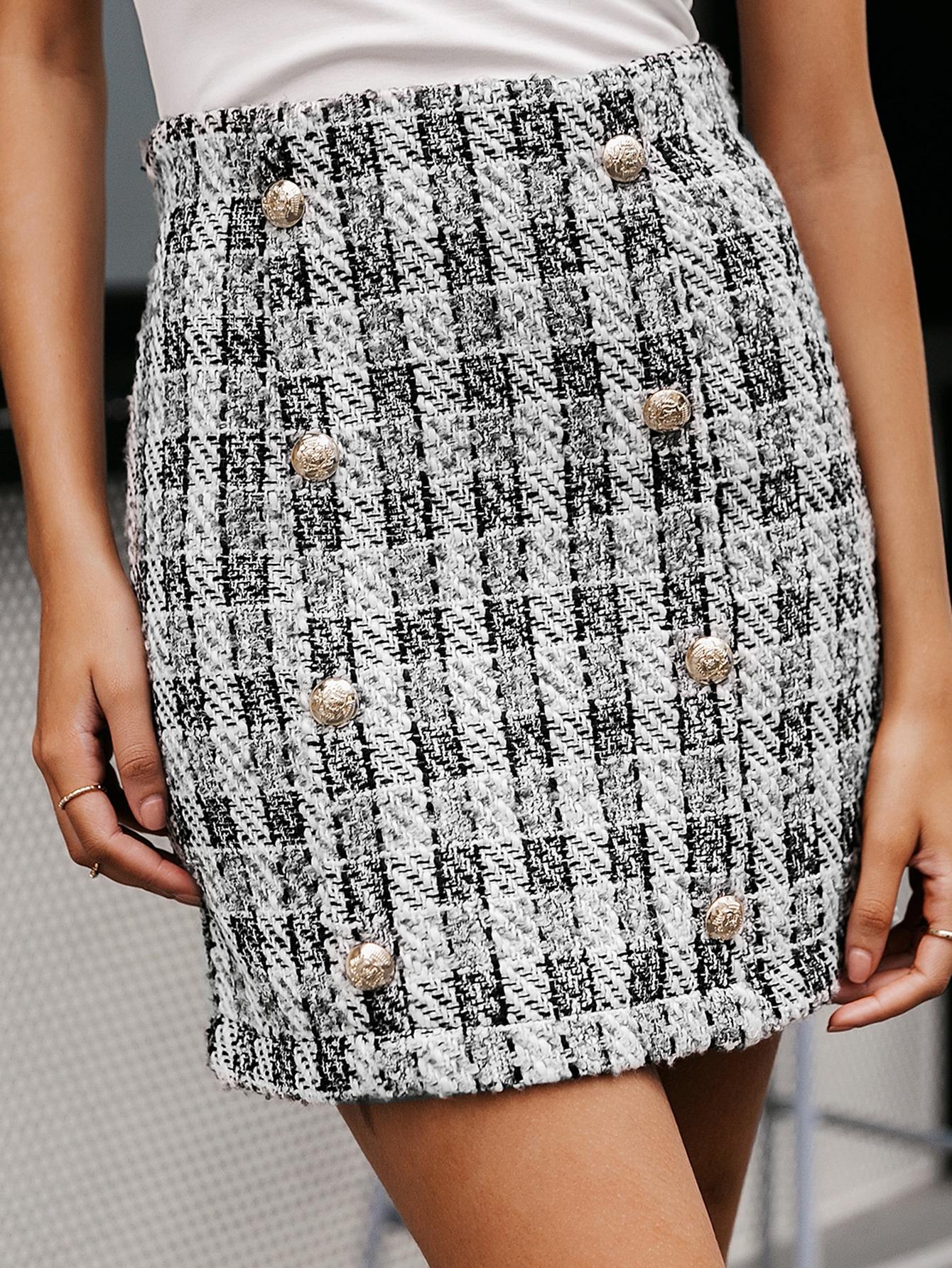 Plaid Double Button Bodycon Tweed Skirt