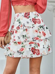 White Floral Print Layered Skirt