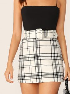 White High Waist Buckle Belted Plaid Skirt