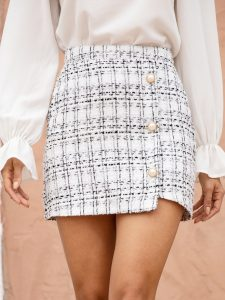 White Pearls Button Front Tweed Mini Skirt