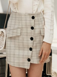 White Plaid Button-Front Wrap Skirt