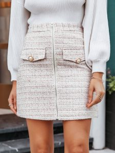 White Zip-Up Buttoned Tweed Skirt