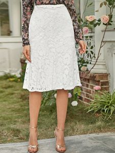 White Zipper Back Lace Overlay Skirt