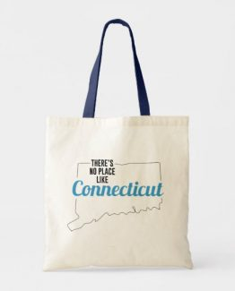 There is No Place Like Connecticut Tote Bag, Connecticut State Holiday Christmas, Connecticut Canvas Grocery Shopping Reusable Bag, Connecticut Home Base by Clotee.com There is No Place Like Home