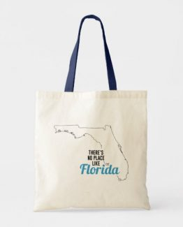 There is No Place Like Florida Tote Bag, Florida State Holiday Christmas, Florida Canvas Grocery Shopping Reusable Bag, Florida Home Base by Clotee.com There is No Place Like Home