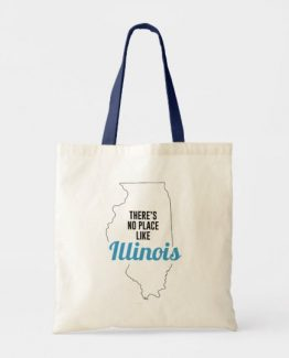 There is No Place Like Illinois Tote Bag, Illinois State Holiday Christmas, Illinois Canvas Grocery Shopping Reusable Bag, Illinois Home Base by Clotee.com There is No Place Like Home