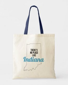 There is No Place Like Indiana Tote Bag, Indiana State Holiday Christmas, Indiana Canvas Grocery Shopping Reusable Bag, Indiana Home Base by Clotee.com There is No Place Like Home