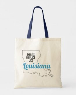 There is No Place Like Louisiana Tote Bag, Louisiana State Holiday Christmas, Louisiana Canvas Grocery Shopping Reusable Bag, Louisiana Home Base by Clotee.com There is No Place Like Home